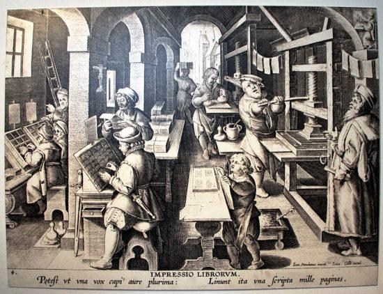Un atelier d'impression au XVIème siècle (source)