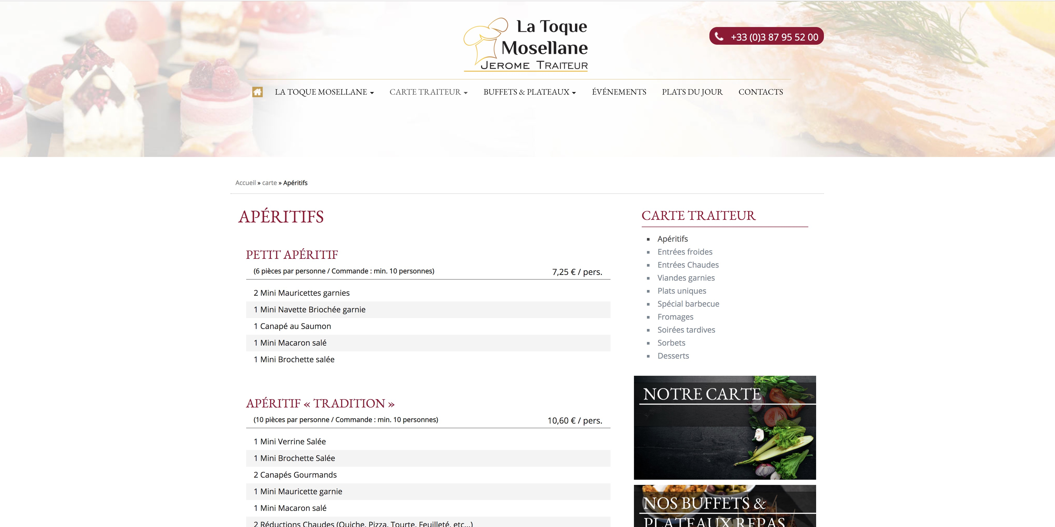 Refonte site web traiteur