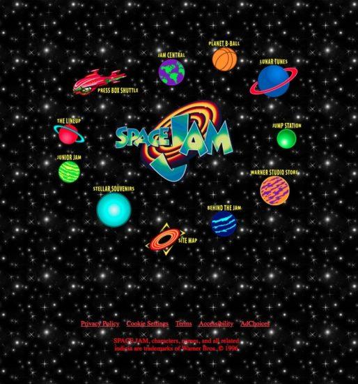 Le design du site de Space Jam, dans un pur esprit des années 90