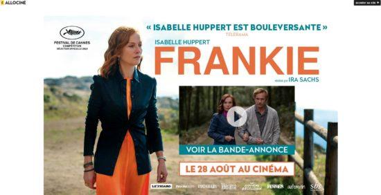 Une page splash sur le site Allocine.fr mettant en avant un nouveau film