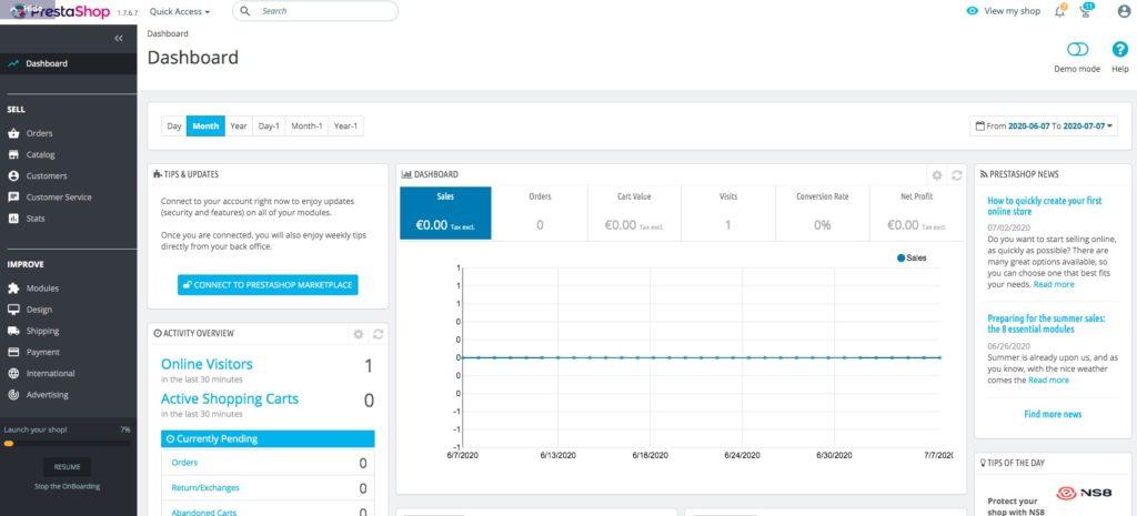 Prestashop dispose d'une interface complète et intuitive
