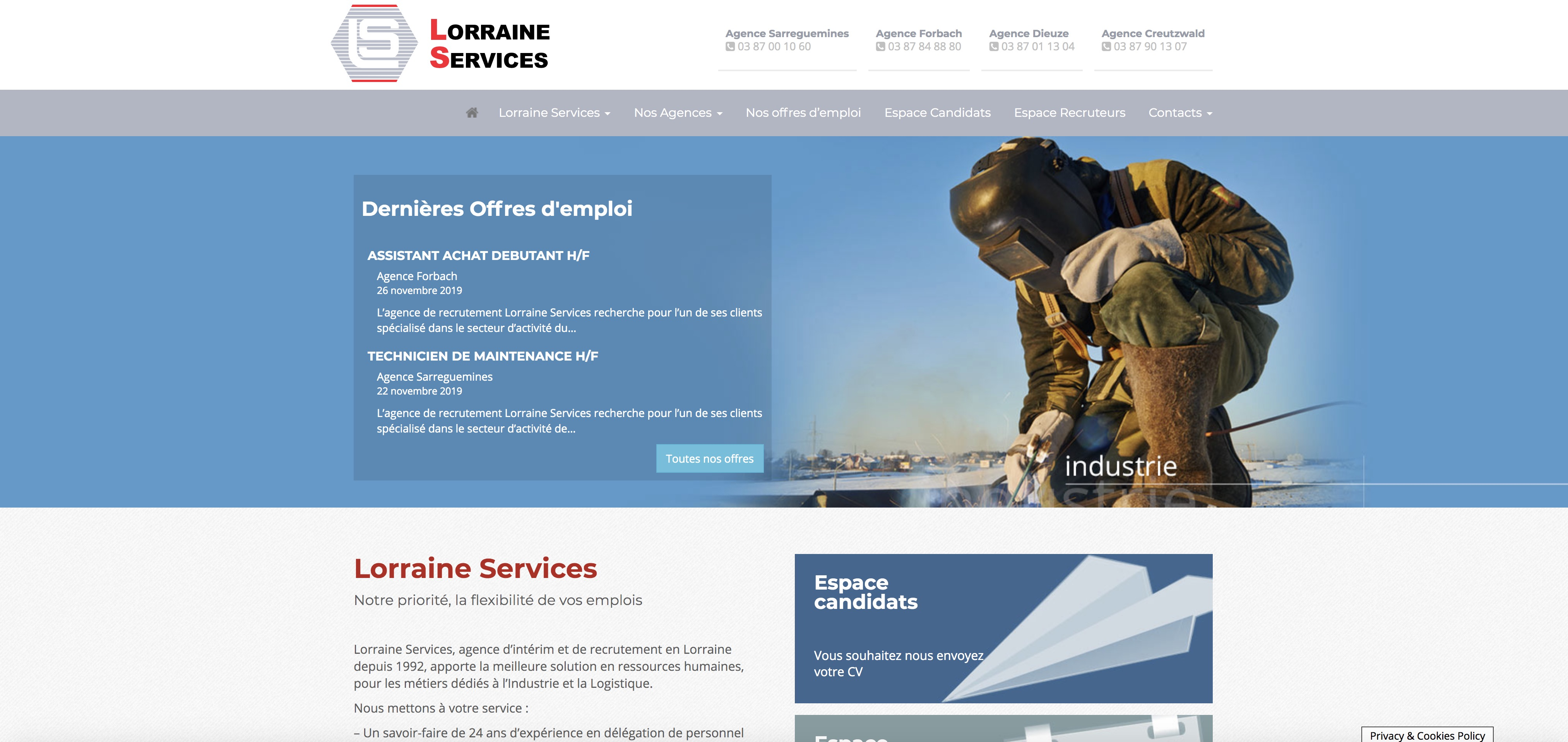 Refonte site web agence intérim