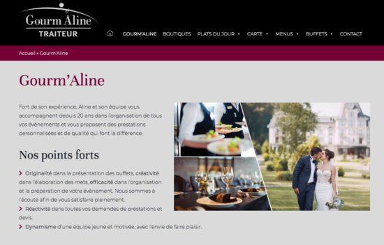 L'un des sites traiteur que nous avons réalisé, Gourm'Aline